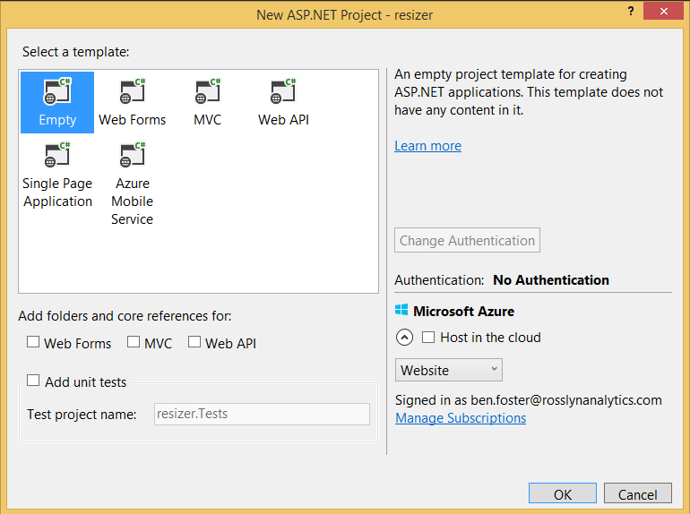 Create a new empty ASP.NET Project in Visual Studio