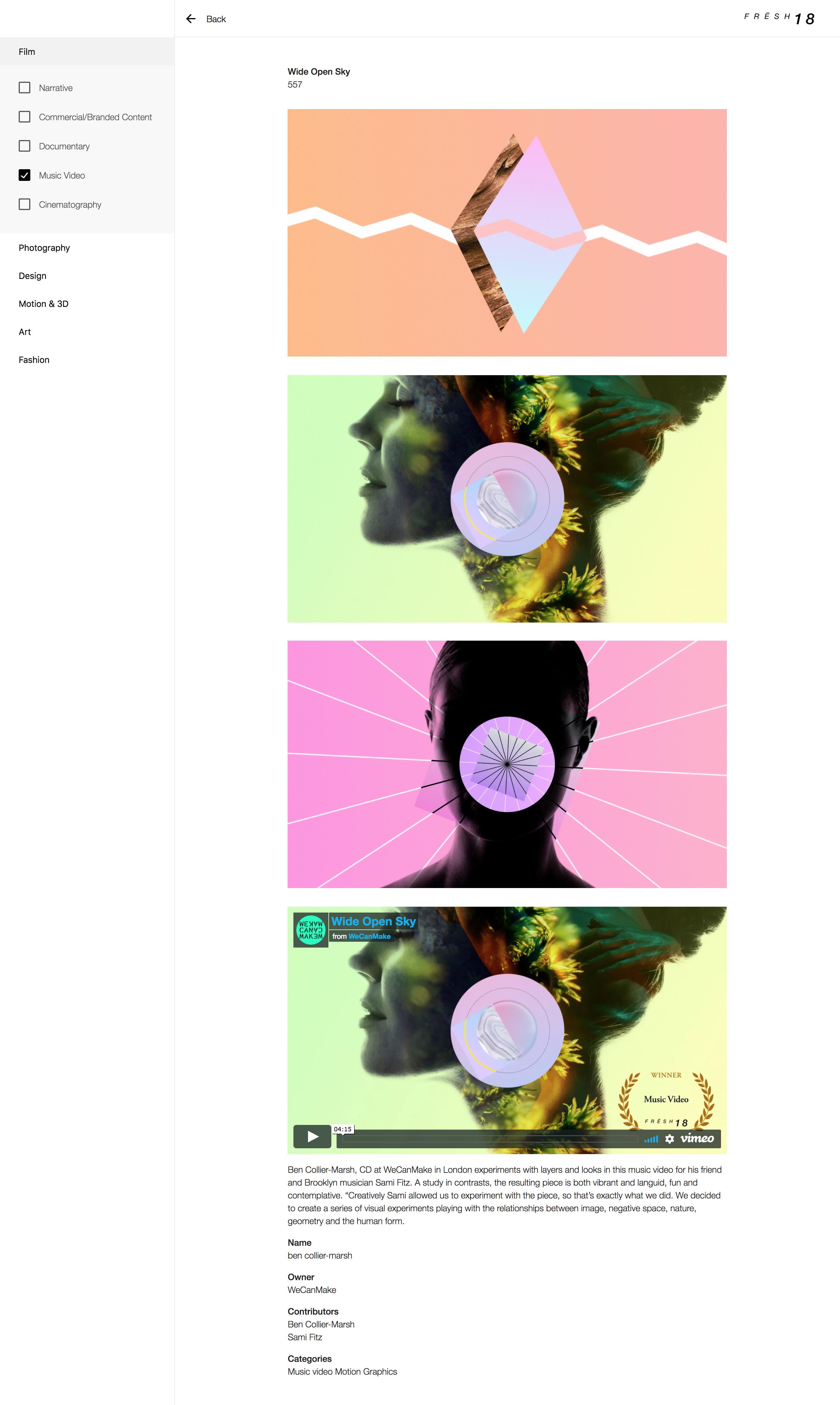 Screenshot: Fresh 18 Curators Site