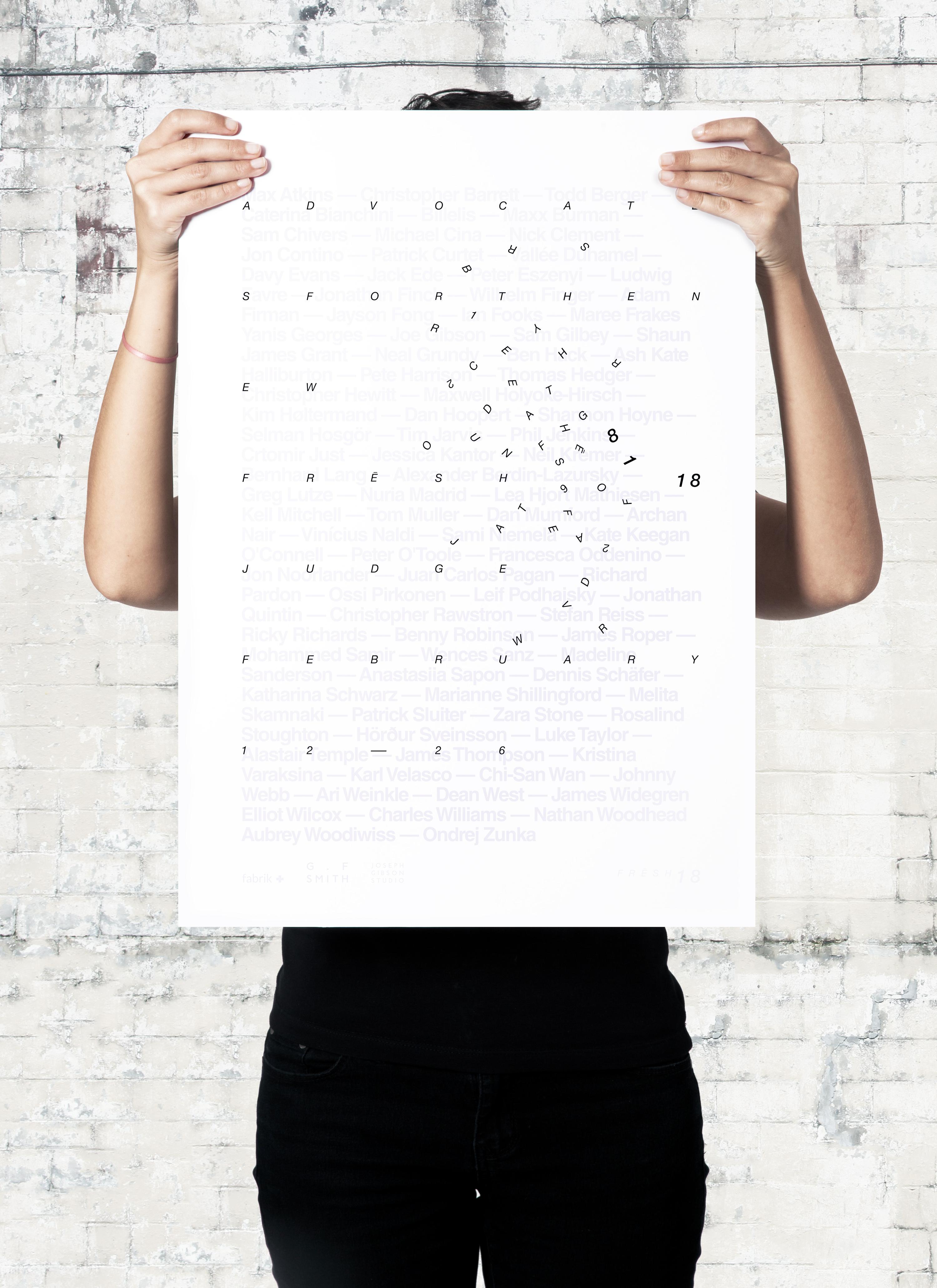 Semi-printed Fresh 18 judges poster